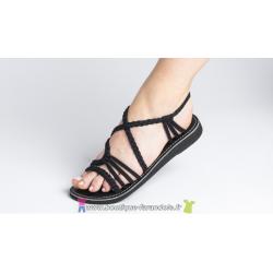 Sandale la Marine Idya plate Noire