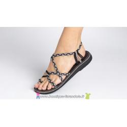 Sandale la Marine Calypso  plate Noire et Taupe