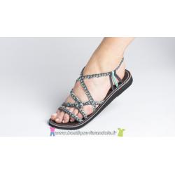 Sandale la Marine Calia plate bleu grise T37