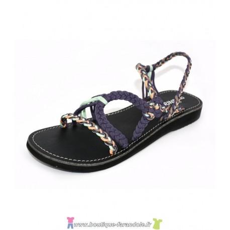 Sandale la Marine Calypso Compensée Fushia et bleu